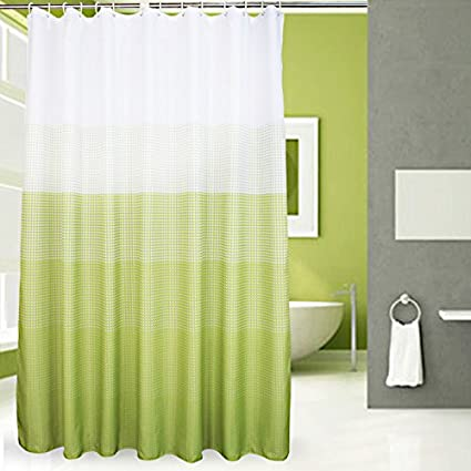 Popeven Fabric Shower Curtain Green Polka Dot Decorative Curtains For Bathroom Waterproof Mildewproof Polyester