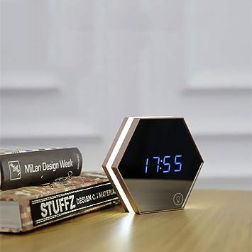 KUNHAN Espejo de maquillaje SB Espejo Alarma Reloj Digital Cuarto De Baño Dormitorio Luz De La