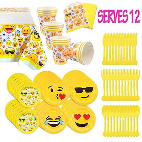 MelonBoat Emoji Party Supplies 93ct Birthday Decorations Kit, Tablecloth, Paper Plates, Cups, Napkins, Happy Birthday Bulk Pack Serves 12 -