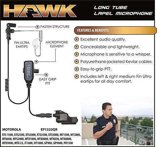 Hawk Lapel Mic for Motorola XTS Radios Includes Fin Ultra Earmolds by Tactical Ear Gadgets