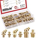 Hilitchi 106-Pieces Metric Brass Hydraulic Grease Fitting Assortment Set - Straight, 45-Degree Angled Zerk