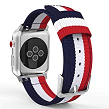 MoKo Strap for Apple Watch Series 3 Bands, Fine Woven Nylon Adjustable Replacement Band Sport Strap for iWatch 38mm 2017 Series 3 / 2 / 1, Blue & White & Red (Not fit 42mm Versions)