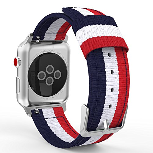 MoKo Compatible Band Replacement for Apple Watch 38mm 40mm Series 4/3/2/1, Fine Woven Nylon Adjustable Replacement Band Sport Strap - Blue & White & Red (Not fit 42mm 44mm Versions)