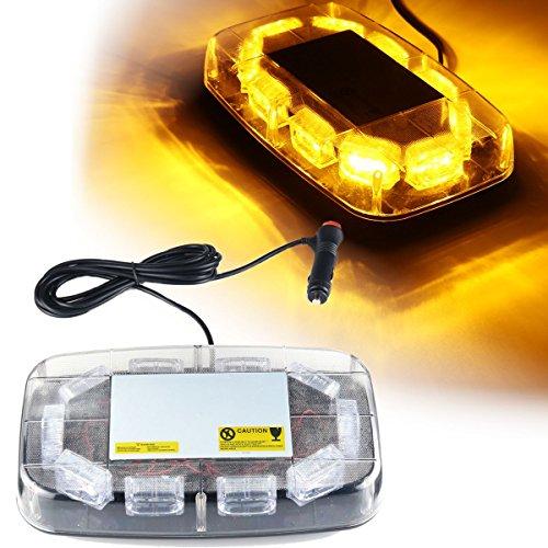 Fincos 12V-24V 30 LED Mini Amber Flashing Emergency Light Bar Strobe Rotating Beacon Warning Lamp