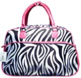 Zebra Print Shoulder Carry On Bag w/ Pink Trim