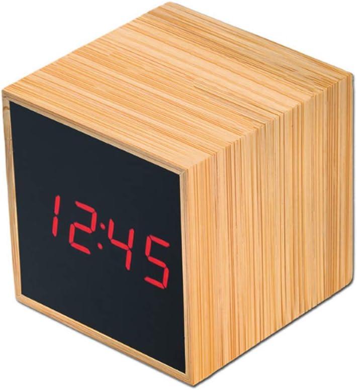 Promo shop Reloj de Mesa LED Fabricado en Madera de Bambú · Reloj Despertador Digital Táctil con Control de Temperatura y Fecha