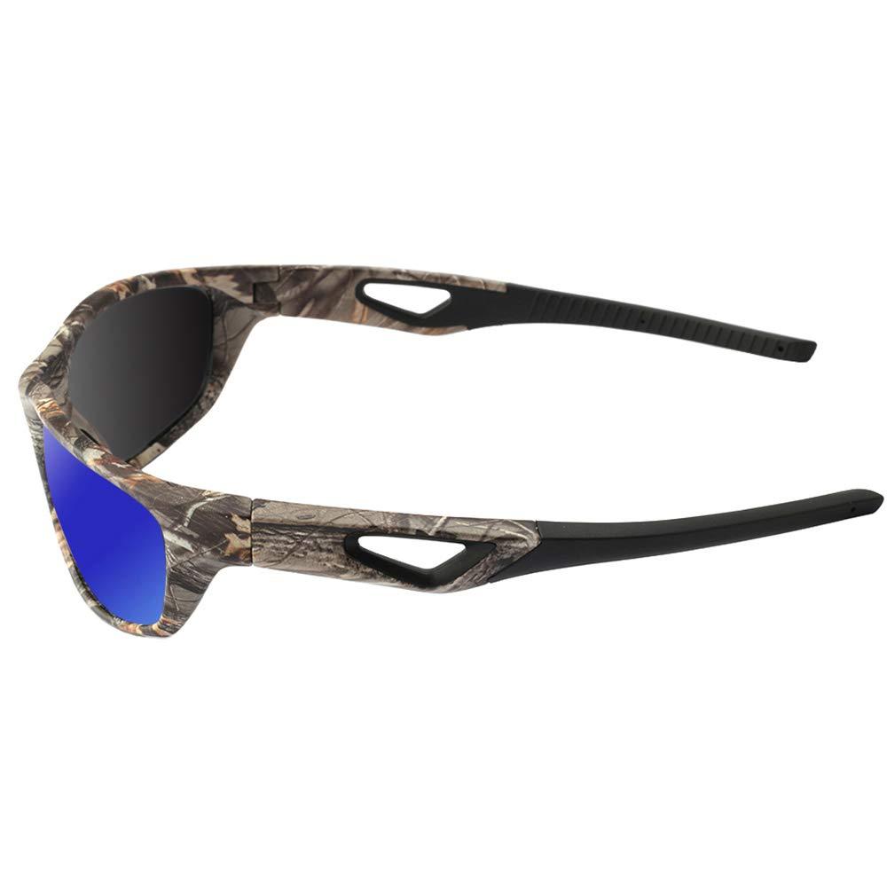 190f75ad381 Amazon.com   MOTELAN Polarized Outdoor Sports Sunglasses Tr90 Camo Frame  for Men Women Driving Fishing Hunting Reduce Glare (Black Blue (Upgraded))    Sports ...