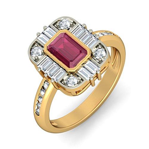 Or jaune 18K, 0,49carat Diamant Blanc (IJ | SI) Rubis et diamant Bague