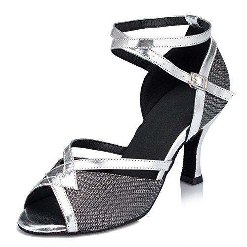 chaussures Black Cadeaux femmes Tango Silver 7CM YFF Dance Dance danse 42 danse latine 8Pqx6awq