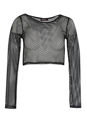 Womens Ladies Crochet Mesh Detail See Through Long Sleeve Sheer Mini Crop - Top Detail Mesh