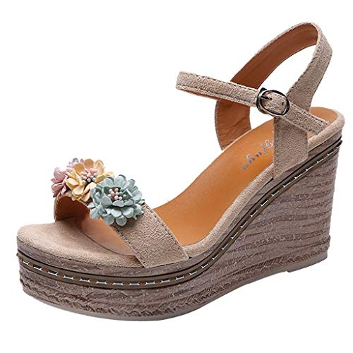 KINGOLDON Sandals for Women Platform Shoes Summer Flowers Open Toe Wedges Heel Casual Shoes Leather Footbed Beach Sandal Beige