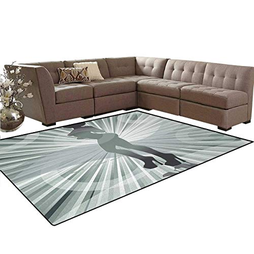 - African American,Floor Mat,an Afro American Woman in High Heels Silhouette with Ray Background Pattern,Soft Area Rugs,Black,6'x9'
