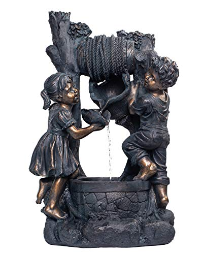 CYA-DECOR Garden Waterfall Fountains with Children, Antique Bronze Design Boy and Girl Fountains Fit for Patio and Lawn Decoration