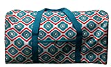 Cheap Travel Tote Duffel Bag for Traveling and Sports (Geo Turquoise / Red)