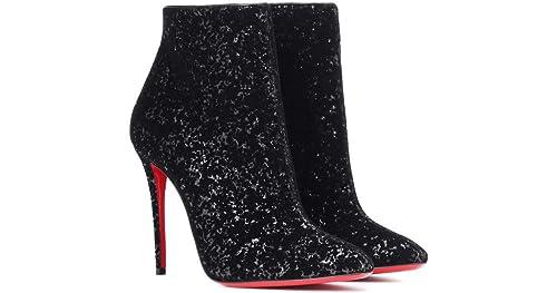 the latest f4ac7 fbc0d Amazon.com | Christian Louboutin Black Glitter Eloise Ankle ...