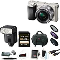 Sony a6000 24.3 MP Camera w/ 16-50mm Lens (Silver) + HVL-F32M External Flash