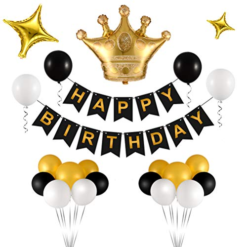 Triwol Birthday Decorations, Birthday Party Supplies for Women and Men, Bday Decor Include Gold Crown and Star Mylar Balloon/Black Happy Birthday Banner / 21pcs Latex -