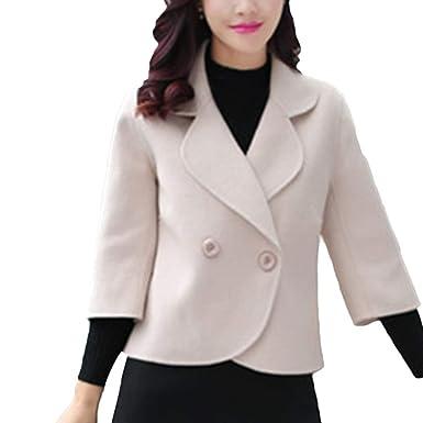 Linlink Venta de liquidación Chaqueta Caliente de Las Mujeres de Solapa Elegante Abrigo Chaqueta Casual Abrigo Corto Outwear: Amazon.es: Ropa y accesorios