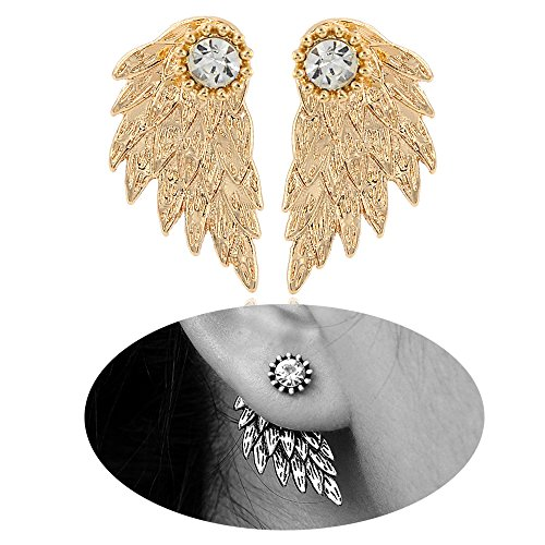 Gold Earrings Angel (MUZHE Gothic Angel Wing Stud Earrings for Women Front Back Ear Wrap Pin Vine Crystal Charm Jewelry (gold))