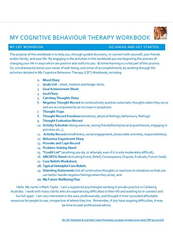 My Cognitive Behaviour Therapy Workbook My Cbt Workbook Go Ahead