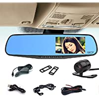 Full HD 1080P Car Dvr Camera 4.3 Inch Rearview Mirror Digital Video Recorder Dual Lens Registrar Camcorder
