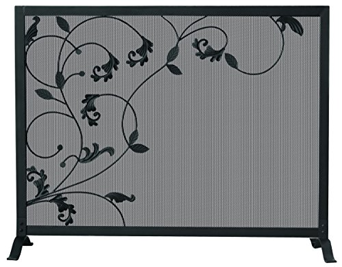 Uniflame S-1043 One Panel Black Screen with Flowing Leaf Design