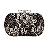 Xuanhemen Women Lace Evening Handbag Lady Mini Chain Clutch Purse Female Crystal Bowknot Hasp Mini Shoulder Bags Dinner Bag