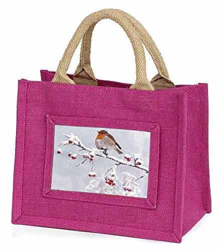Advanta–Mini Pink Jute Tasche Robin auf Schnee Beeren Ast Little Mädchen klein Einkaufstasche Weihnachten Geschenk, Jute, pink, 25,5x 21x 2cm