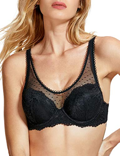 (DOBREVA Women's Lightly Padded See Through Mesh Lace Underwire Bra Black#Underwired)