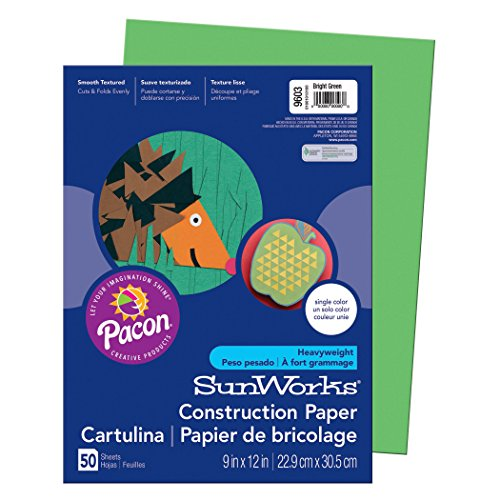 Pacon SunWorks Construction Paper, 9-Inches by 12-Inches, 50-Count, Bright Green (9603) - 12 Heavyweight Paper