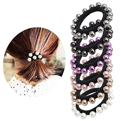Pearl Elastic Hair Bands Cotton Stretch Hair Ties Ponytail Hair Ropes for Women Girls 6pcs #1 ()