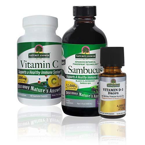 Nature's Answer Immune Support Bundle with Vitamin C, Sambucus and Vitamin D-3 - Dietary Herbal Supplement - Non GMO & Kosher - Alcohol Free Gluten Free 100% Vegan