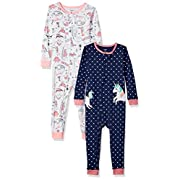 Carter's Baby Girls' 2-Pack Cotton Footless Pajamas, Unicorn/Dino, 5T