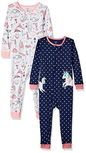 Carter's Baby Girls' 2-Pack Cotton Footless Pajamas, Unicorn/Dino, 5T