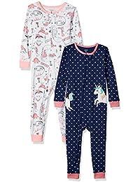 Baby Girls' 2-Pack Cotton Footless Pajamas,