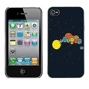 Be Good Phone Accessory // Dura Cáscara cubierta Protectora Caso Carcasa Funda de Protección para Apple Iphone 4 / 4S // Solar System Art Drawing Kids Planets Lineup
