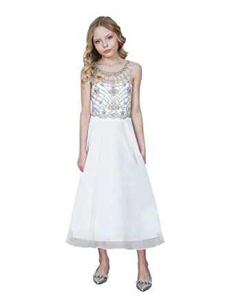 36b8a979b8f Amazon.com  Calla Collection USA Big Girls Ivory Jeweled Bodice ...