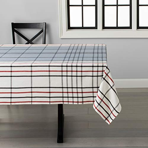 Hearth and Hand with Magnolia Plaid Tablecloth Black/Gray/Red 60