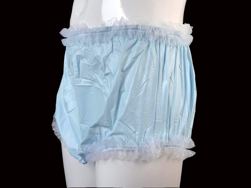 Haian Adult Incontinence Pull-on Plastic Pants Lace Panties Color Baby Blue with White Lace X-Large