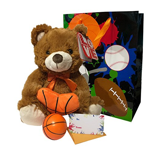 Valentines Day Sports Gifts For Boys Men Gift Bag Set Plush Athletic Teddy Bear Soft Basketball Card