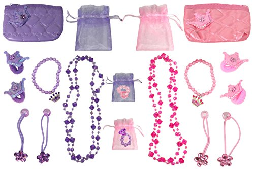 Pink & Purple Princess Accessory Set (2 Necklaces, 2 Bracelets, 4 Sets of Girls Ponytail Holders, & 2 Coin Purses)