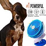 Mini Rechargeable Clip on Table Fan USB or Battery Powered Portable Powerful Quiet, Blue
