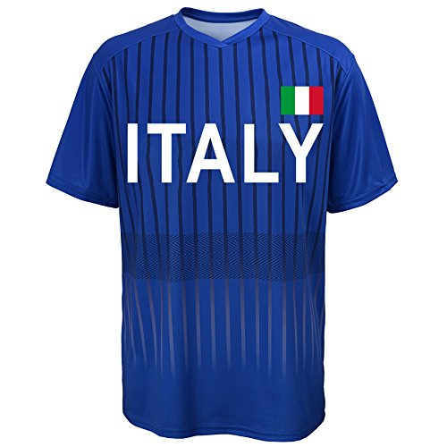 Outerstuff World Cup Soccer Italy Youth Boys Federation Jersey Short Sleeve Tee, Large (14-16), Royal