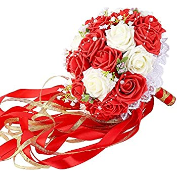 Wedding Bridal Bouquet, Febou Wedding Bride Bouquet, Wedding Holding Bouquet with Artificial Roses Lace Pearl Ribbon, Perfect for Wedding, Church(Long Ribbon, White+Red)