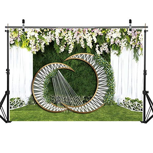 (7x5ft Durable/Soft Fabric White Flowers Lace Curtain Green Grass Lawn Theme Photography Backdrop for Newlyweds Wedding Bridal Shower Party Decorations Shoots Photo Booth)