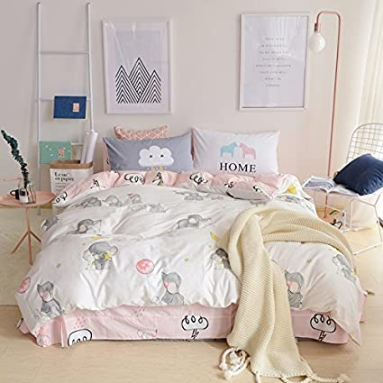 LELVA Elephant Bedding Girls Duvet Cover Set With Fitted Sheets 4 Piece  Kids Bedding Queen Cotton