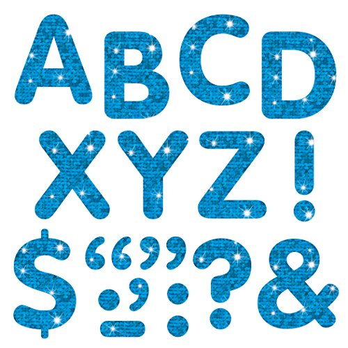 """Trend Enterprises """"Letters & Marks"""" STICK-EZE Stick-On Letters, 2"""", Blue Sparkle (T-78302)"""