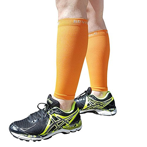 Shin Splints Compression Calf Sleeve - BeVisible Sports - Leg Compression Socks for Men & Women - Great For Running, Cycling, Air Travel, Support, Circulation & Recovery - 1 Pair - Cycling Gear Female
