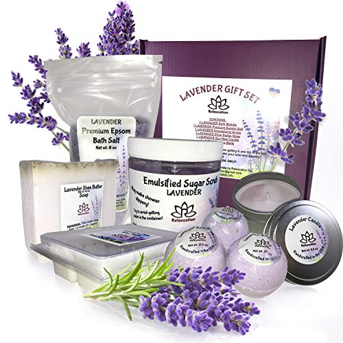 (Lavender Gifts Set For Women - All Natural Spa Basket - Soy Candles - Organic Oil Bath Bombs - Hand Soap - Natural Body Sugar Scrub - Best Holidays Kit Idea for Mom Girls Her - Big Handmade Box)