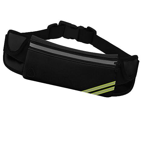 b2f8e6c9383a MarsBro Sport Waist Running Belt with 3 Pockets, Waterproof Workout Fanny  Pack Reflective Pouch Bag Phone Holder Earphone Hole
